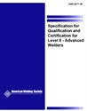 Picture of QC11:1996 SPECIFICATION FOR QUALIFICATION AND CERTIFICATION FOR LEVEL II ADVANCED WELDERS
