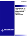 Picture of QC20:2011 SPECIFICATION FOR AWS CERTIFICATION OF RESISTANCE WELDING TECHNICIANS (HISTORICAL)