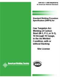 Picture of B2.1-1-008:2002(R2013) STANDARD WELDING PROCEDURE SPECIFICATION (SWPS) FOR GAS TUNGSTEN ARC WELDING OF CARBON STEEL, (M-1, P-1, OR S-1), 18 THROUGH 10 GAUGE, IN THE AS-WELDED CONDITION, WITH OR WITHOUT BACKING