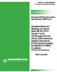 Picture of B2.1-1-205:1996(R2007) STANDARD WELDING PROCEDURE SPECIFICATION FOR SMAW OF CARBON STEEL, (M-1/P-1/S-1, GROUP 1 OR 2), 1/8 THROUGH 1-1/2 INCH THICK, E6010 (VERTICAL UPHILL) FOLLOWED BY E7018 (VERTICAL UPHILL), AS-WELDED OR PWHT CONDITION