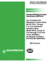 Picture of B2.1-1/8-227:2002 AMD1(R2013) STANDARD WELDING PROCEDURE SPECIFICATION FOR GTAW OF CARBON STEEL, (M-1/P-1/S-1, GROUPS 1 OR 2) TO AUSTENITIC STAINLESS STEEL (M-8/P-8/S-8, GROUP 1), 1/16 THROUGH 1-1/2 INCH THICK, ER309(L), AS-WELDED CONDITION