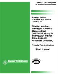 Picture of B2.1-8-213:1997(R2012) STANDARD WELDING PROCEDURE SPECIFICATION (SWPS) FOR SHIELDED METAL ARC WELDING OF AUSTENITIC STAINLESS STEEL, (M-8/P-8/S-8, GROUP 1), 1/8 THROUGH 1-1/2 INCH THICK, E3XX-XX, AS-WELDED CONDITION, PRIMARILY PIPE APPLICATIONS
